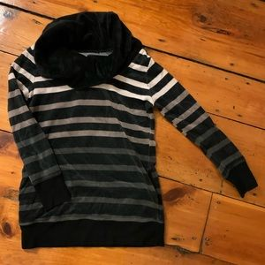 Striped cowl neck velour sweater with pockets